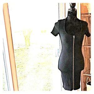 Express black fitted zipper midi dress XSP